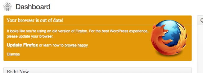 "Screenshot of WordPress 3.2's ""Browser Nag"""