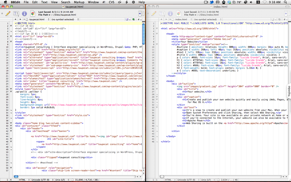 BBEdit 9's side-by-side window arrangement.
